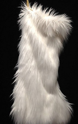 Luxurious ultra soft white faux fur Christmas Stocking. Fully lined in gold acetate satin. Roomy, large, super soft. Gold cord loop. A gorgeous lush stocking. Limited availability. ()