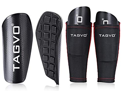 TAGVO Soccer Shin Guards Youth with Pocketed Compression Calf Sleeves, Kids Soccer Equipment Adults Youth Sizes Performance Soccer Shin Pads for Boys Girls