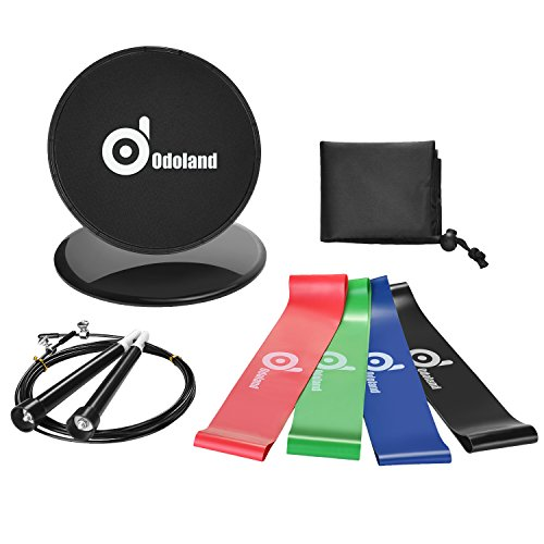 Odoland Gliding Discs Core Sliders with 4 Resistance Loop Exercise Bands and Adjustable Jump Rope, come with Carry Bag for Abdominal Exercise Boxing MMA Fitness Training
