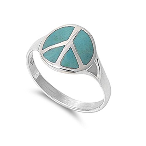 Simulated Turquoise Stone Peace Sign Ring Sterling Silver Size 8