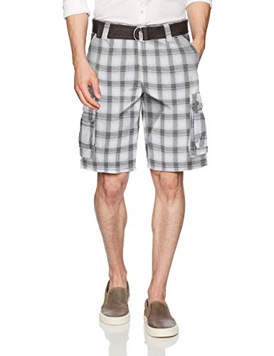 Lee Men's Big and Tall New Belted Wyoming Cargo Short, Gray Bristol Plaid, 46