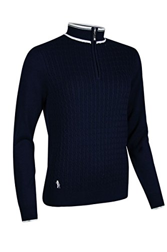 Cable Golf Sweater - Glenmuir Ladies LKC2600ZN Cotton Zip Neck Micro Cable Golf Sweater Navy/White XL