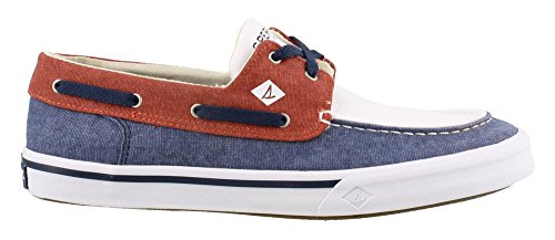 (Sperry Top-Sider Bahama II Boat Washed Sneaker Men 7 Navy/Red/White)