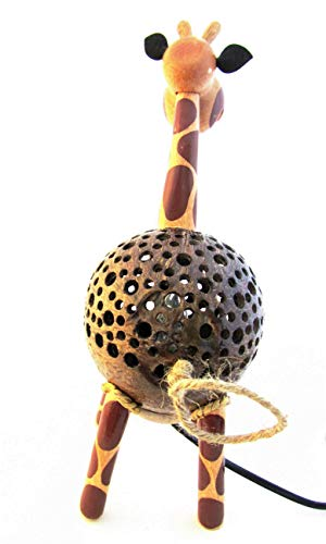 Animal Night Light for Kids Wood Coconut Shell Lamp for Bedroom from Thailand (Giraffe) by Blue Orchid (Image #2)