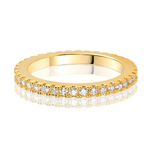 MDFUN 14K Yellow Gold Plated Cubic Zirconia Eternity Ring for Women (7)