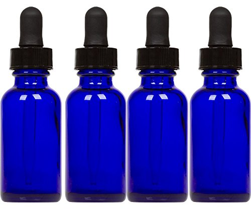 (Cobalt Glass Bottles with Eye Droppers (2 oz, 4 pk) For Essential Oils, Colognes & Perfumes, Highest Quality, Blank Labels Included)