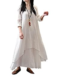 Tasatific Womens Fake Two Piece Cotton Linen Long Sleeve Baggy Maxi Dress