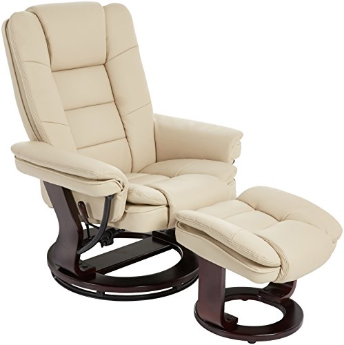 (JC Home Argus Ultra-Plush Bonded Leather Swiveling Recliner with Mahogany Wood Base and Matching Ottoman - Vanilla)