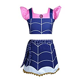 - 41PQ1X4bbWL - Alvivi Kids Girls Vampire Costume Dress Ruffled Sleeves Crop Top with Skirt Outfit for Halloween Theme Party