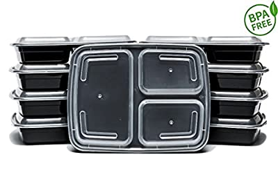 JLY Canada 3 Compartment Stackable Meal Prep Food Storage Containers (33oz, 10 pack)