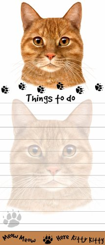 """""""Tabby Cat Magnetic List Pads"""" Uniquely Shaped Sticky Notepad Measures 8.5 by 3.5 Inches"""