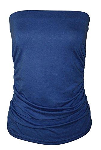 Royal Blue Elasticizzato Arricciato Pianura Senza Fashions Maniche Senza XXL Top a Signore Spalline Womens Islander S Boobtube Fascia qnTwa1Cnx