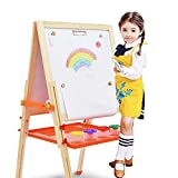 Beebeerun 3 in 1 Wooden Kids Easel Double-Sided Magnetic Drawing Board White & Chalkboard Dry Easel with Drawing Axis, Paper Roll, Bonus Magnetics, Numbers, Paint Cups for Writing Kids (Wood Color)