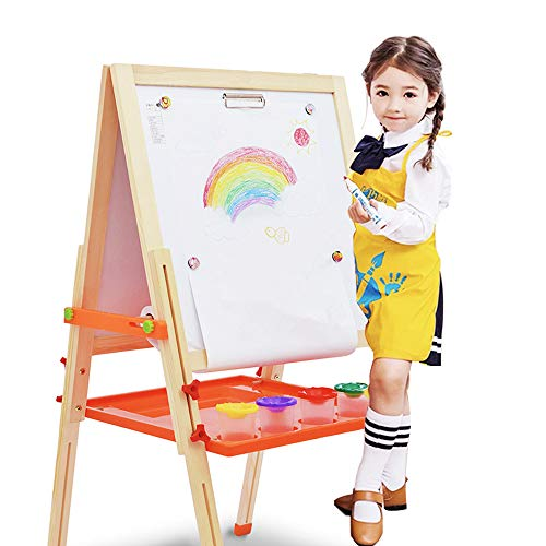 Beebeerun 3 in 1 Wooden Kids Easel Double-Sided Magnetic Drawing Board White & Chalkboard Dry Easel with Drawing Axis, Paper Roll, Bonus Magnetics, Numbers, Paint Cups for Writing Kids (Wood Color) -