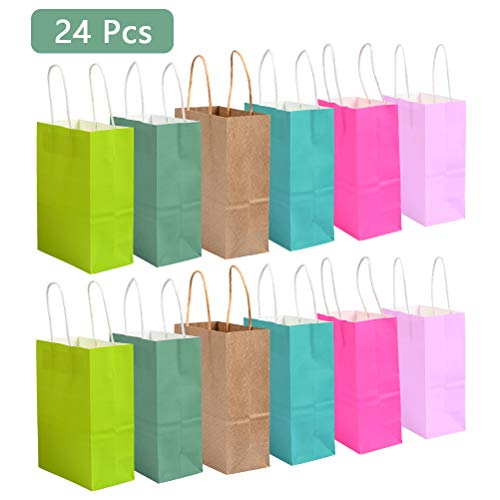 OFNMY Color Paper Shopping Bags, Party Favor Bags, 6 Colors Twist Handle Paper Party Bags, 24 Pieces Gift Bags with Handles for Birthday Party Wedding Xmas Baby Shower Holiday Use Men Women Kids ()