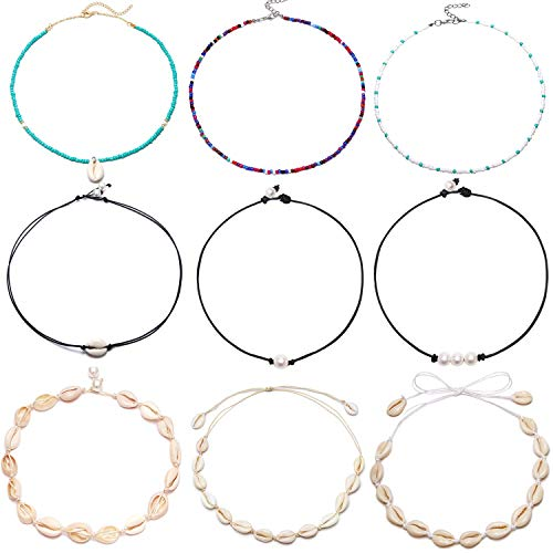 FUTTMI 9 Pieces Shell Pearl Choker Necklace Handmade Boho Rainbow Seed Beads Choker Adjustable for Women Girls ()