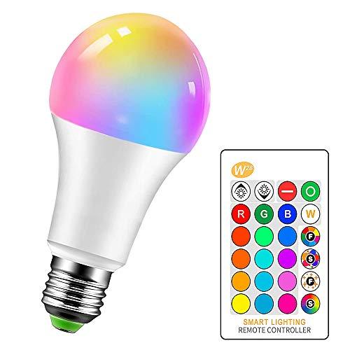 LemonBest Bombillas LED Colores RGBW Bombilla Regulable Cambio de Color E27 15W para Casa/Decoración/Bar/Fiesta/KTV…