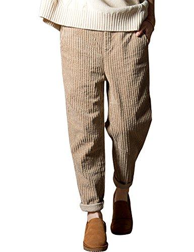 IDEALSANXUN Women's Elastic Waist Vintage Corduroy Loose Harem Pants With Pocket (Khaki, Medium)