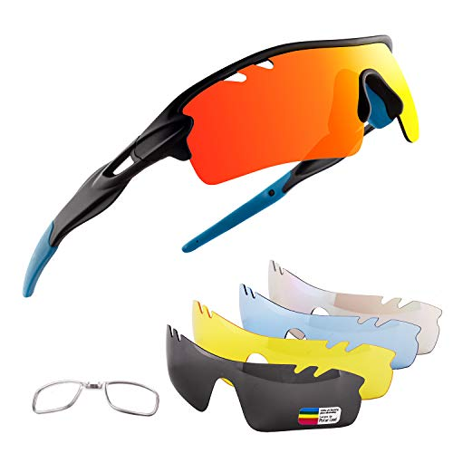 OULIQI Men Polarized Sports Sunglasses with 5 Interchangeable Lenes Cycling Glasses for Women Running Driving Fishing Golf Baseball XQ515 (Black Sand/Blue)