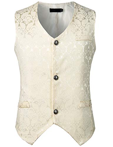 ZEROYAA Mens Single Breasted Vest Gothic Steampunk Victorian Brocade Waistcoat ZLSV10 Cream X Large ()