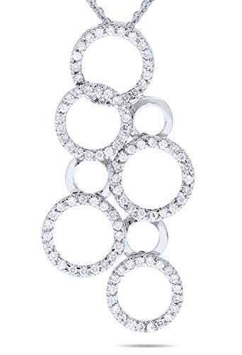 Diamond Circle Multi Pendant - 18k White Gold 1/2 Carat Diamond Multi Circle Pendant Necklace