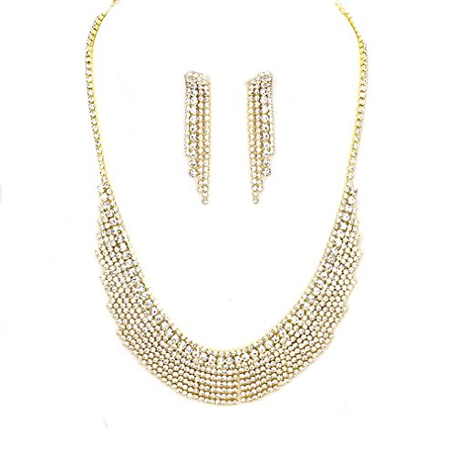 Women Crystal Rhinestone Lace Fringe Affordable Necklace Earring Jewelry Set Bridesmaid Prom Bride (Gold)