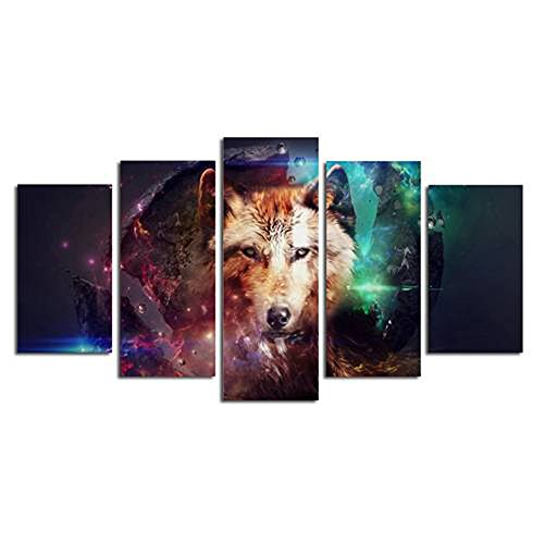 Printed Treasures Inkjet - Wowdecor Wall Art 5 Pieces Multiple Pictures Canvas Prints - 5 Panels Colorful Starry Wolf Giclee Pictures Paintings Printed Pictures on Canvas, Posters Wall Decor Gift - UNFRAMED (Small)