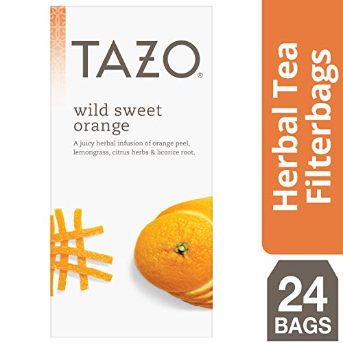 (Tazo Wild Sweet Orange Enveloped Hot Tea Filterbags Herbal, Caffeine Free, Non GMO, 24 count, Pack of 6)