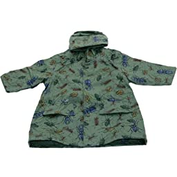 Pluie Pluie Toddler Boys Green Bug Unlined Raincoat Outerwear 2T-3T