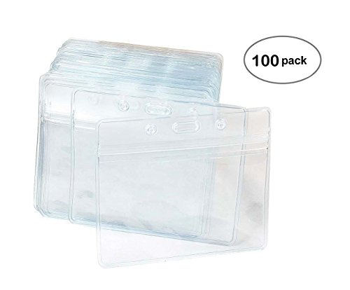 (100 Pcs Clear Plastic Horizontal Name Tag Badge ID Card Holders)