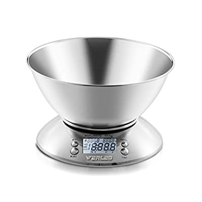 Werleo 11lb 5kg 2.15L Digital Kitchen Food Scale Electronic Baking Cooking Scale in grams ounces Multifunction Kitchen Scales with Bowl,Stainless Steel,Alarm Timer,Temperature,Backlight LCD Display by Werleo