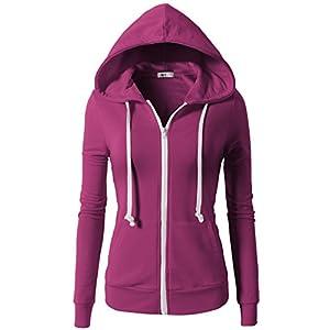 H2H Women Active Regular Fit Zipper Closure Long Sleeve Hoodie Jacket With Kangaroo Pocket Violet US XS/Asia XS (CWOHOL020)