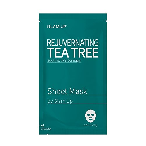 Sheet mask by glam up BTS Rejuvernating Tea Tree - Soothing, Calming Damaged Skin. Remove impurities. Trouble Solution Nature made Freshly packed Daily Skin Therapy Original K-Beauty Recipe 1ea