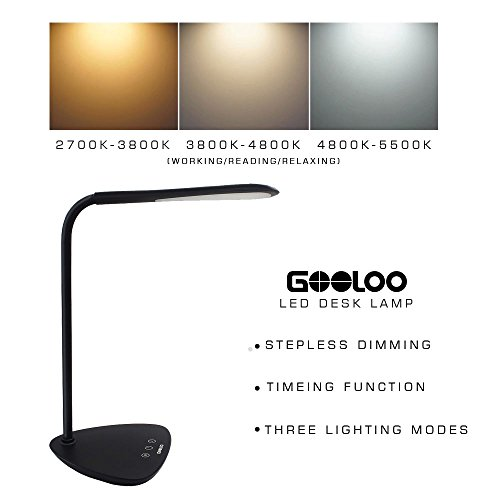 GOOLOO Dimmable LED Desk Lamp, Eye-care Table L...