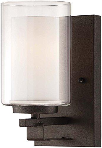 Minka Lavery Wall Sconce Lighting 6101-172, Parsons Studio Glass Wall Lamp Fixture, 1 Light, Smoked Iron