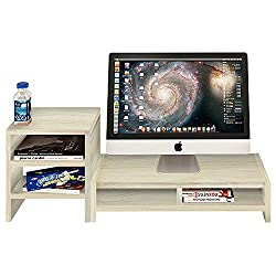 Dl Furniture Monitor Stand 2 Compartment Organizer Come With Portable Tall Side Stand | White
