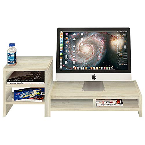 DL furniture - Monitor Stand 2 Compartment Organizer Come with Portable Tall Side Stand | White