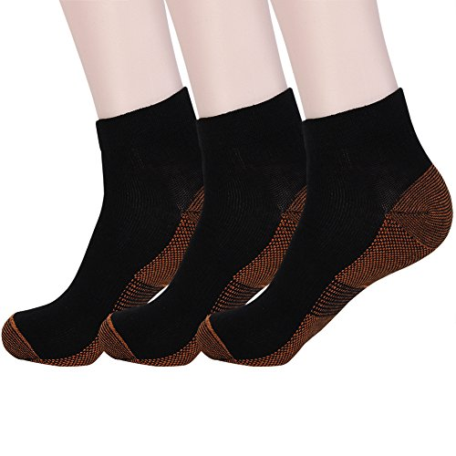 Copper Fiber Antibacterial Athletic Sport Socks Unisex 3 ...