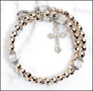 Gold Tone Cap Bead Rosary Wrap (Gold Tone Bead Bracelet)