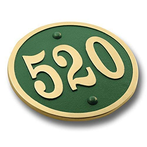 House Number Address Plaque Modern Round Style. Cast Metal Personalised Yard Or Mailbox Sign with Oodles of Color, Number and Letter Options. Handmade in England by The Metal Foundry Just for You