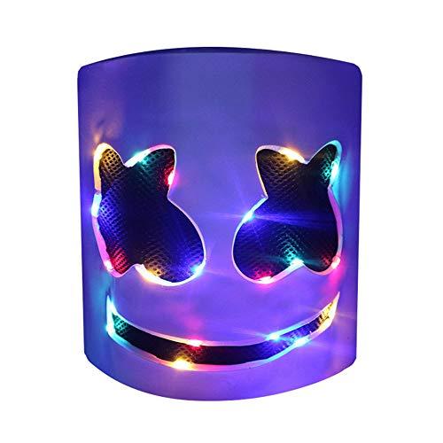Shareculture DJ Helmet Led Music Festival Full Head Mask Party Rubber Latex Mask Colorful for Kids Women and Men -