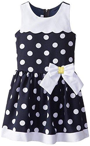 Bonnie Jean Little Girls' Dot Nautical Waistline Dress, Navy, 6X