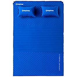 KingCamp Double Self Inflating Camping Sleeping Pad Mattress Triple Zone with 2 Pillows, Lightweight Foam for Hiking Picnic Outdoor