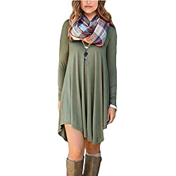POSESHE Women's Long Sleeve V-Neck Casual Loose Fit T-Shirt Dress