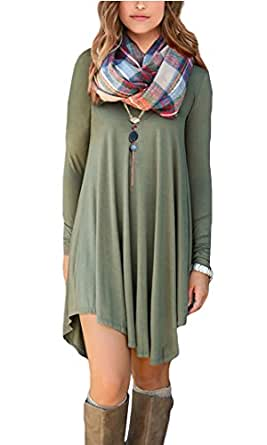 POSESHE Women's Long Sleeve Casual Loose T-Shirt Dress (S, A Army Gren)