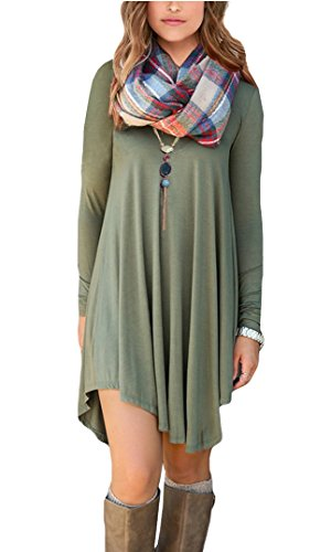 POSESHE Women's Long Sleeve V-Neck Casual Loose Fit T-Shirt Dress Army Green...