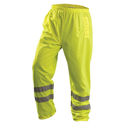 OccuNomix Large Hi-Viz Yellow OccuLux® Premium Light Weight Tricot Class E Breathable Pants With Snap Closure, 3M Scotchlite 2