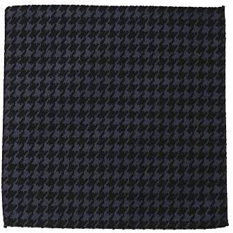 (ザ・スーツカンパニー) ハウンドトゥース柄 ウールブレンドポケットチーフ ネイビー×ブラック