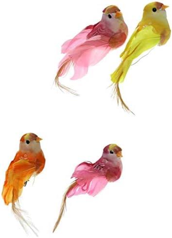 Generic 4ピース/個/セットリアルな小鳥の飾り人工羽根動物の装飾