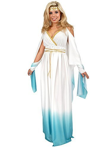 Charades Women's Plus Size Greek Goddess, White/Blue, 1X -